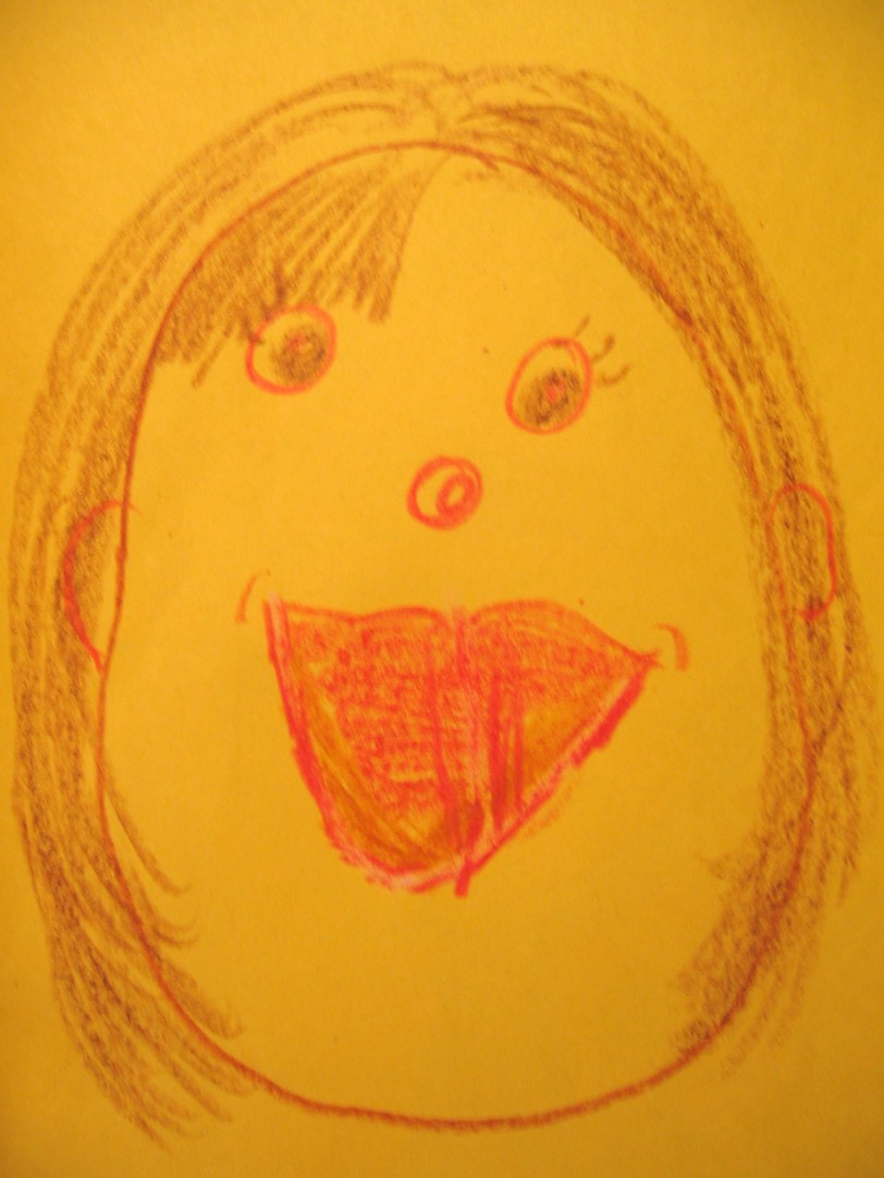 This child imagines herself with botoxed lips I guess