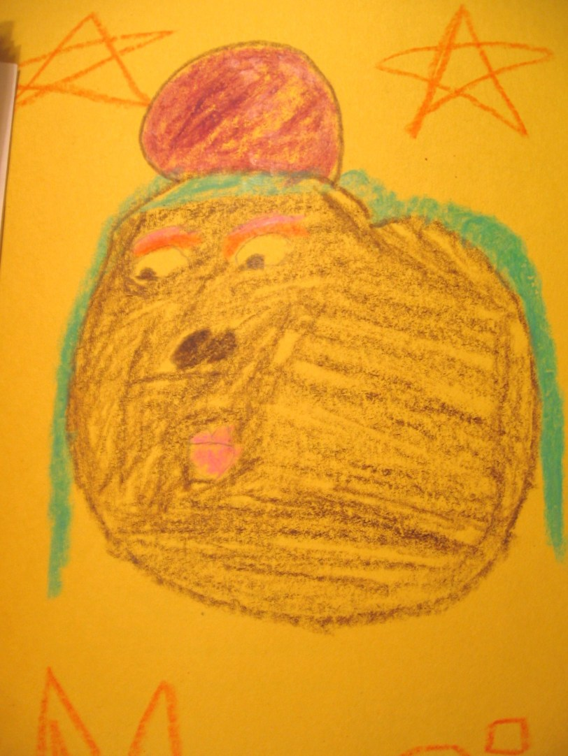And this....this is my favorite. It looks like a fat dog eyeing something tasty with....is that a tumor on its head?
