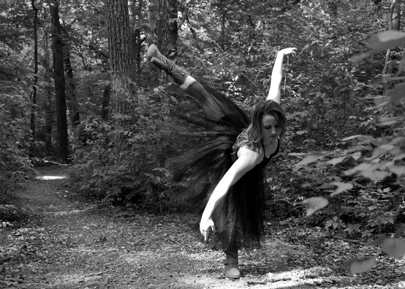 Common Thread company members Kristen and Hannah- maybe all of the professional dancers are hiding in the woods