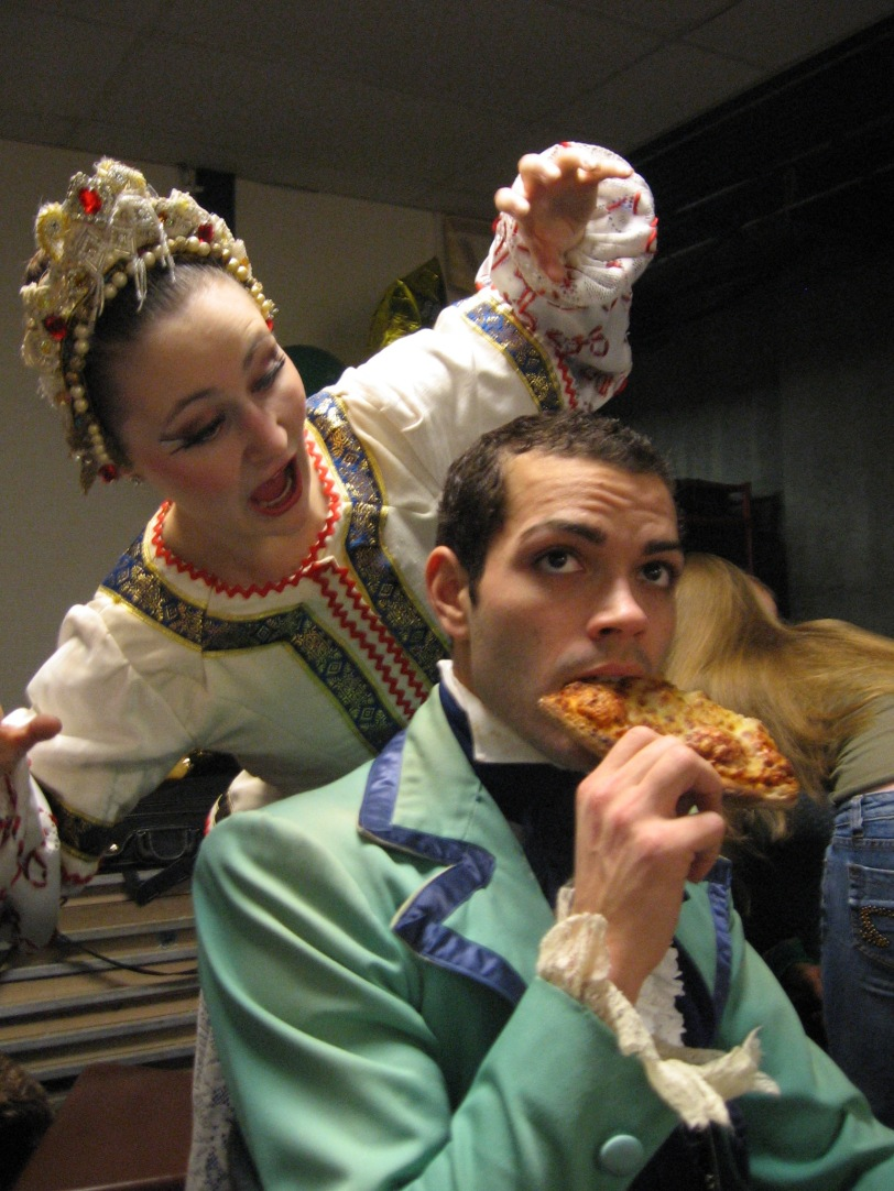 I don't know what Tim is doing, eating in costume (nutcracker 2006, Butler university)