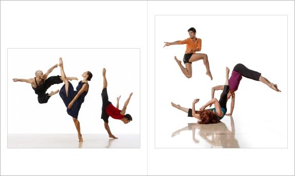 "Lois Greenfield: Moving Still, Thames & Hudson, Chronicle Books, 2015. Dudley Flores, Jenni Bregman, Sharon Gallagher /Printz Dance Project and Daniel Gwirtzman, Cary McWilliam and Jason Garcia Ignacio / Daniel Gwirtzman Dance Company ""Scenarios,"" 2005"
